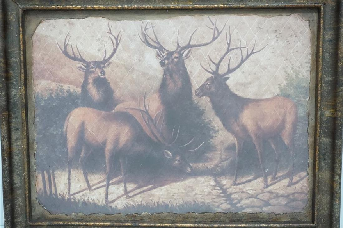 LARGE FRAMED PARK HILL COLLECTIONS STAGS WALL ART - 2