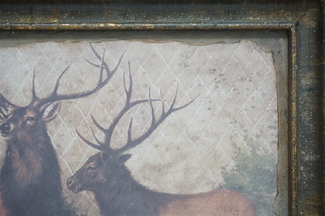 LARGE FRAMED PARK HILL COLLECTIONS STAGS WALL ART - 4