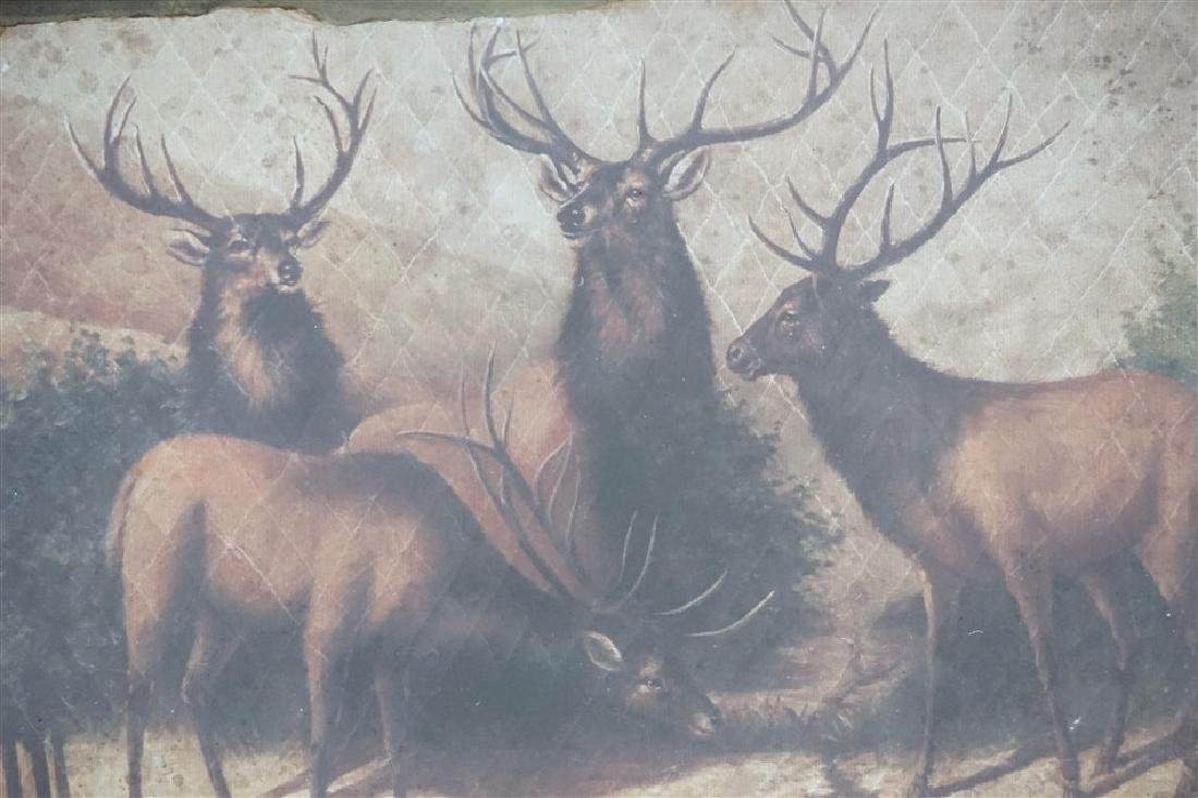 LARGE FRAMED PARK HILL COLLECTIONS STAGS WALL ART - 6