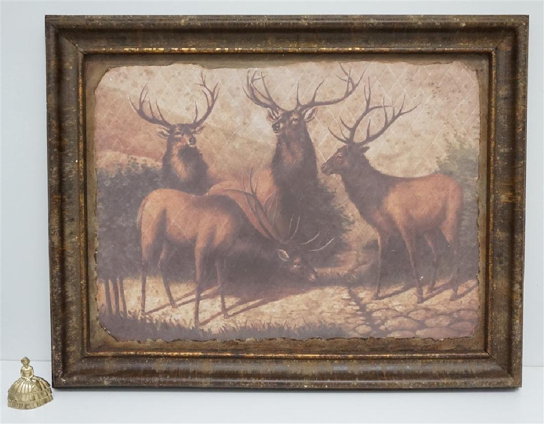 LARGE FRAMED PARK HILL COLLECTIONS STAGS WALL ART - 7