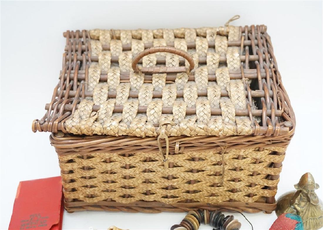 ANTIQUE WICKER SEWING BOX FULL - 5