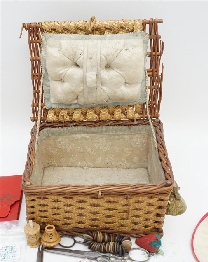 ANTIQUE WICKER SEWING BOX FULL - 7