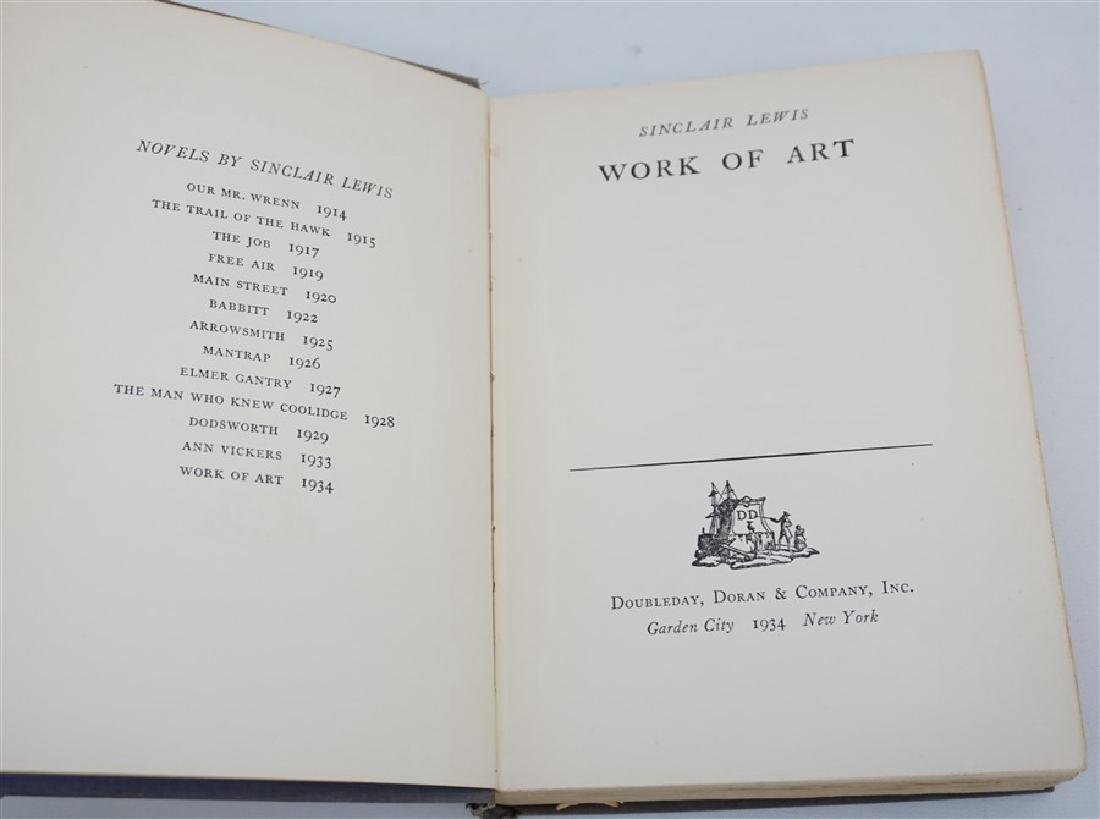 FIRST EDITION SINCLAIR LEWIS WORK OF ART 1934 - 3