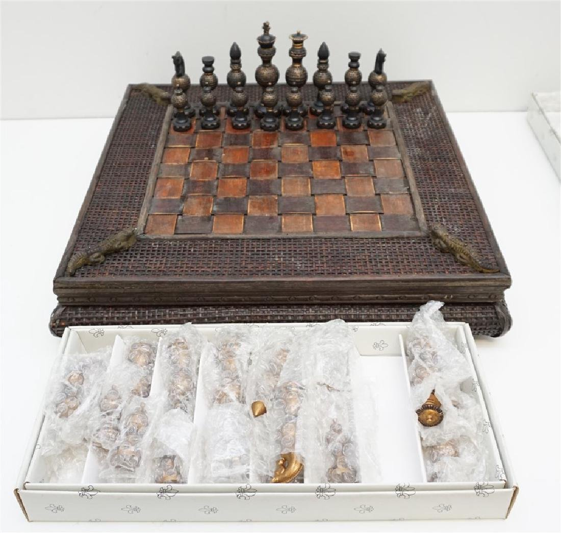 NEW CHESS SET ALLIGATOR ACCENTS