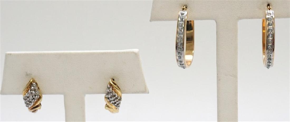 2 PAIR 10k DIAMOND EARRINGS