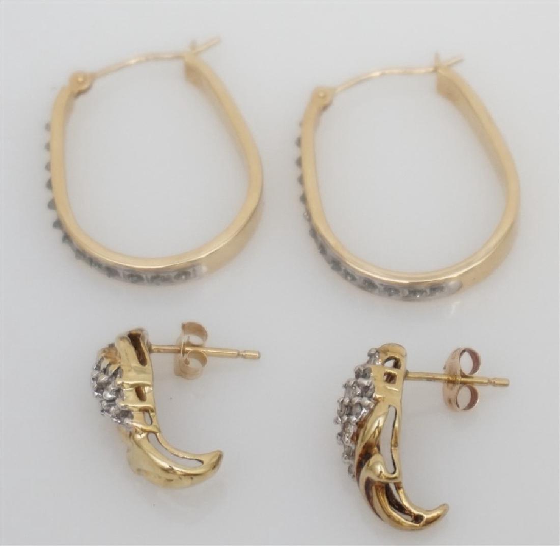 2 PAIR 10k DIAMOND EARRINGS - 4