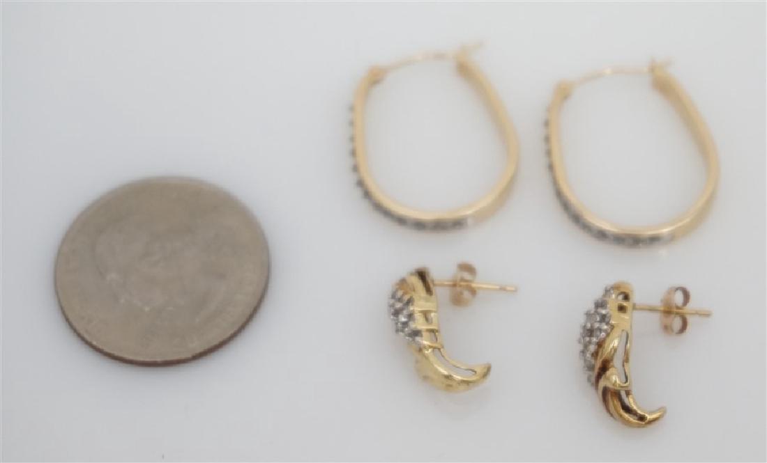 2 PAIR 10k DIAMOND EARRINGS - 5