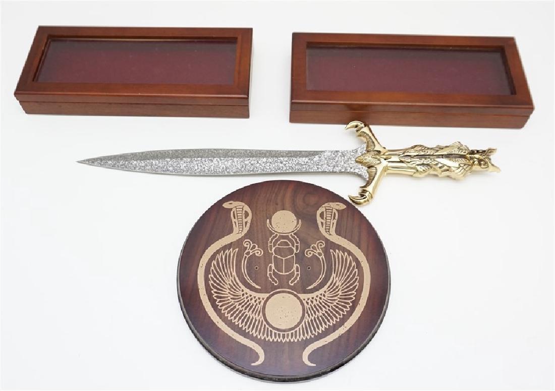 EGYPTIAN SHORT SWORD & 2 DISPLAY BOXES