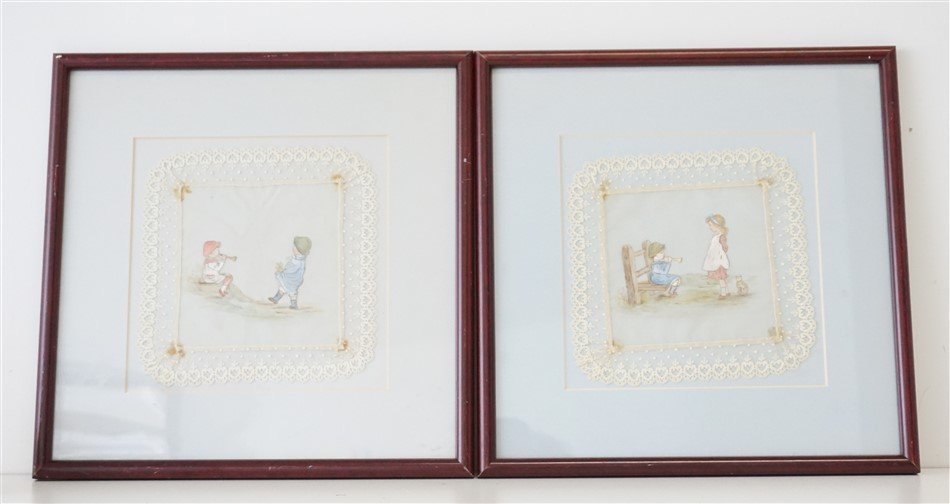 2 HAND PAINTED FRAMED LACE CHILDREN