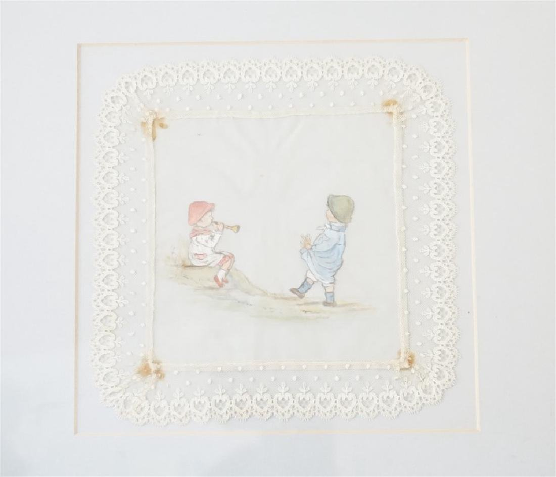 2 HAND PAINTED FRAMED LACE CHILDREN - 2