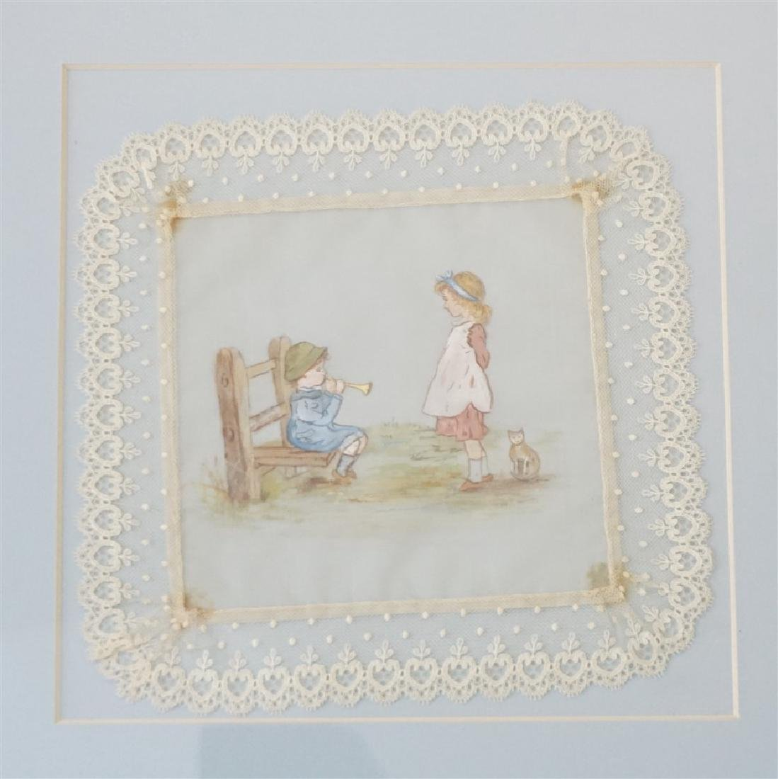 2 HAND PAINTED FRAMED LACE CHILDREN - 3