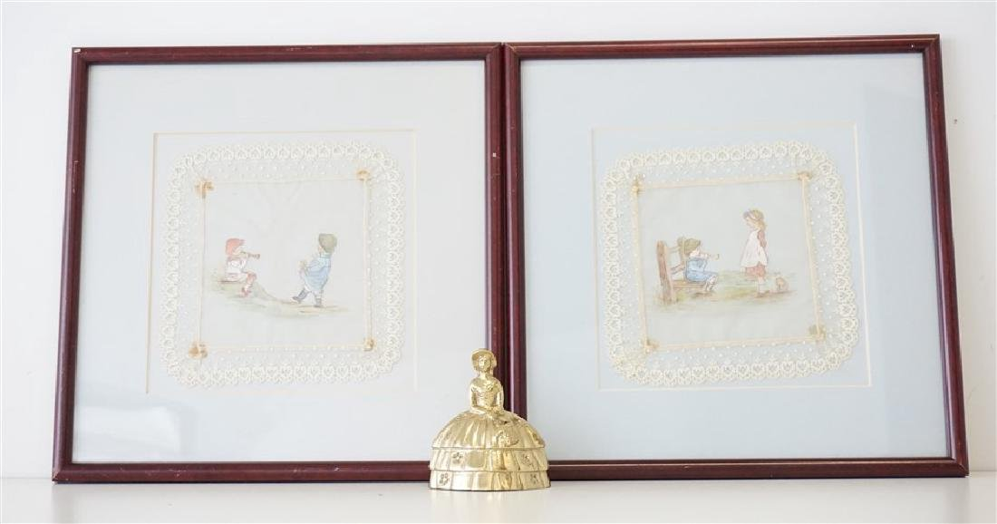 2 HAND PAINTED FRAMED LACE CHILDREN - 4