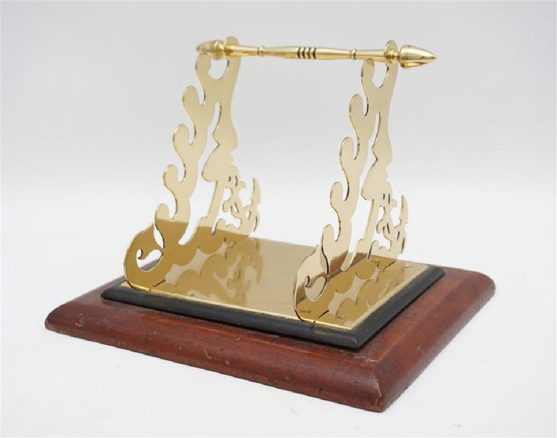 ORNATE BRASS & WOOD TOILET PAPER HOLDER - 4