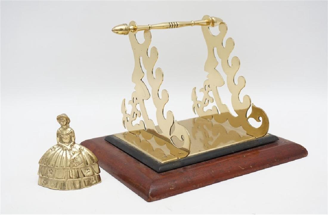 ORNATE BRASS & WOOD TOILET PAPER HOLDER - 6