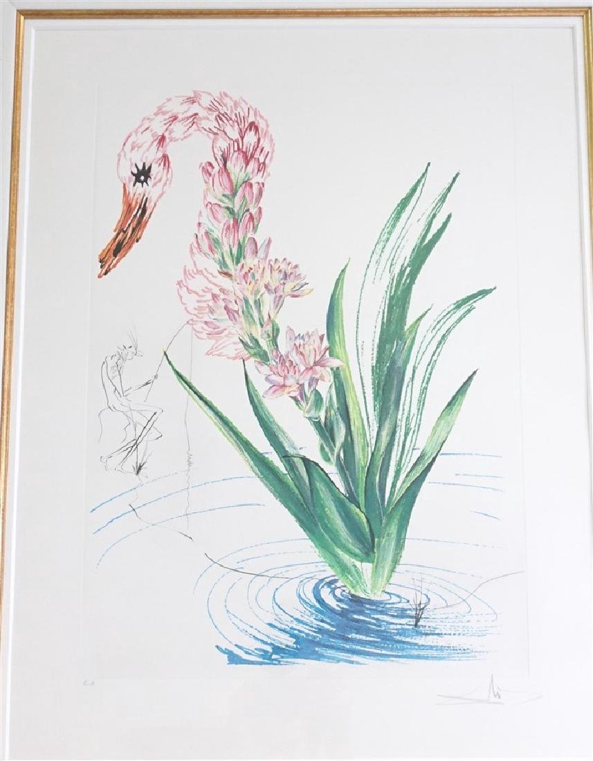 SIGNED DALI WATER-HYBISCUS SWAN EA