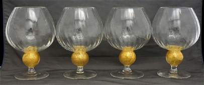 4PC CRYSTAL BRANDY SNIFTERS HAND BLOWN