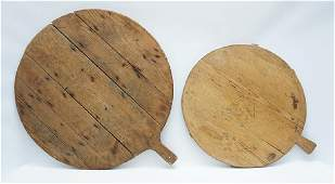 2 ANTIQUE LARGE BREAD BOARDS