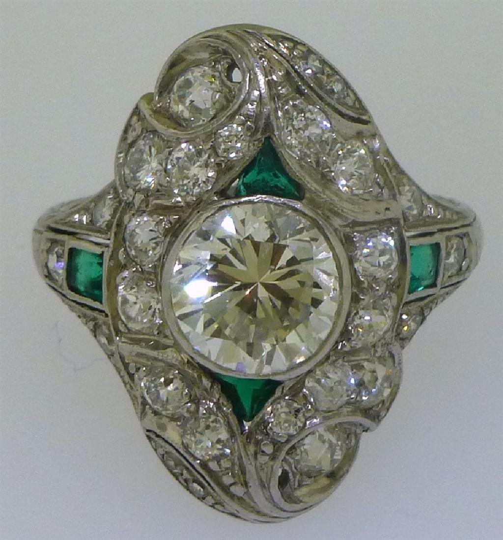 DIAMOND & EMERALD PLATINUM ANTIQUE RING- 1.75 CT CENTER