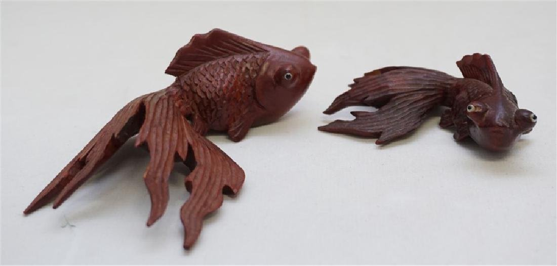 PAIR ROSEWOOD CARVED KOI W GLASS EYES