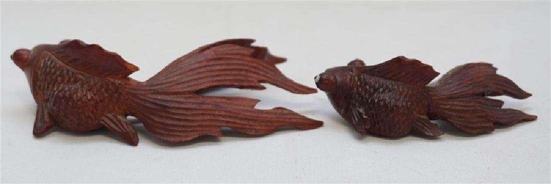 PAIR ROSEWOOD CARVED KOI W GLASS EYES - 3