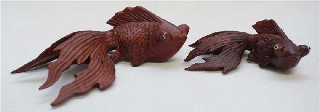 PAIR ROSEWOOD CARVED KOI W GLASS EYES - 5
