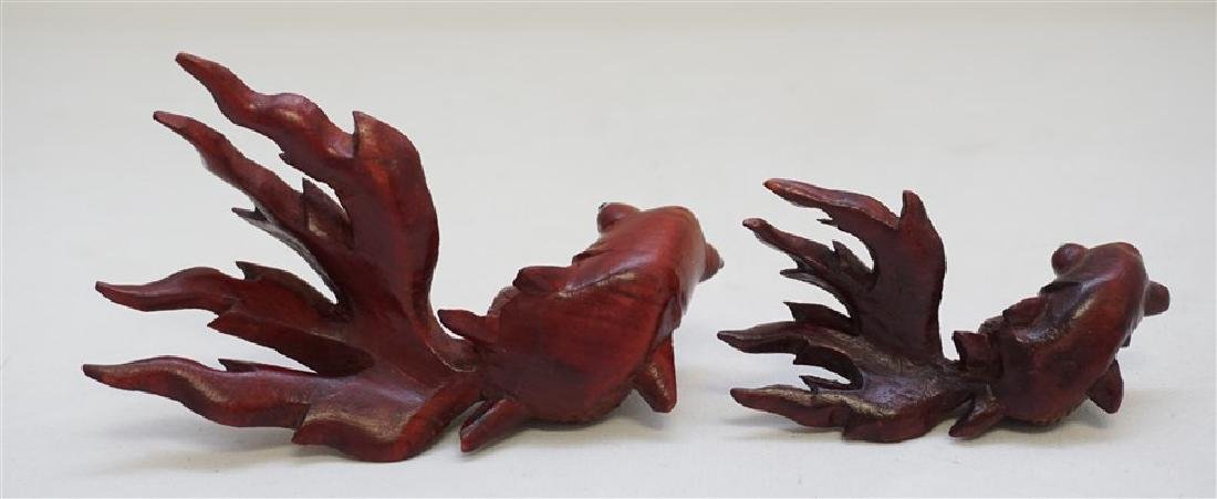 PAIR ROSEWOOD CARVED KOI W GLASS EYES - 6