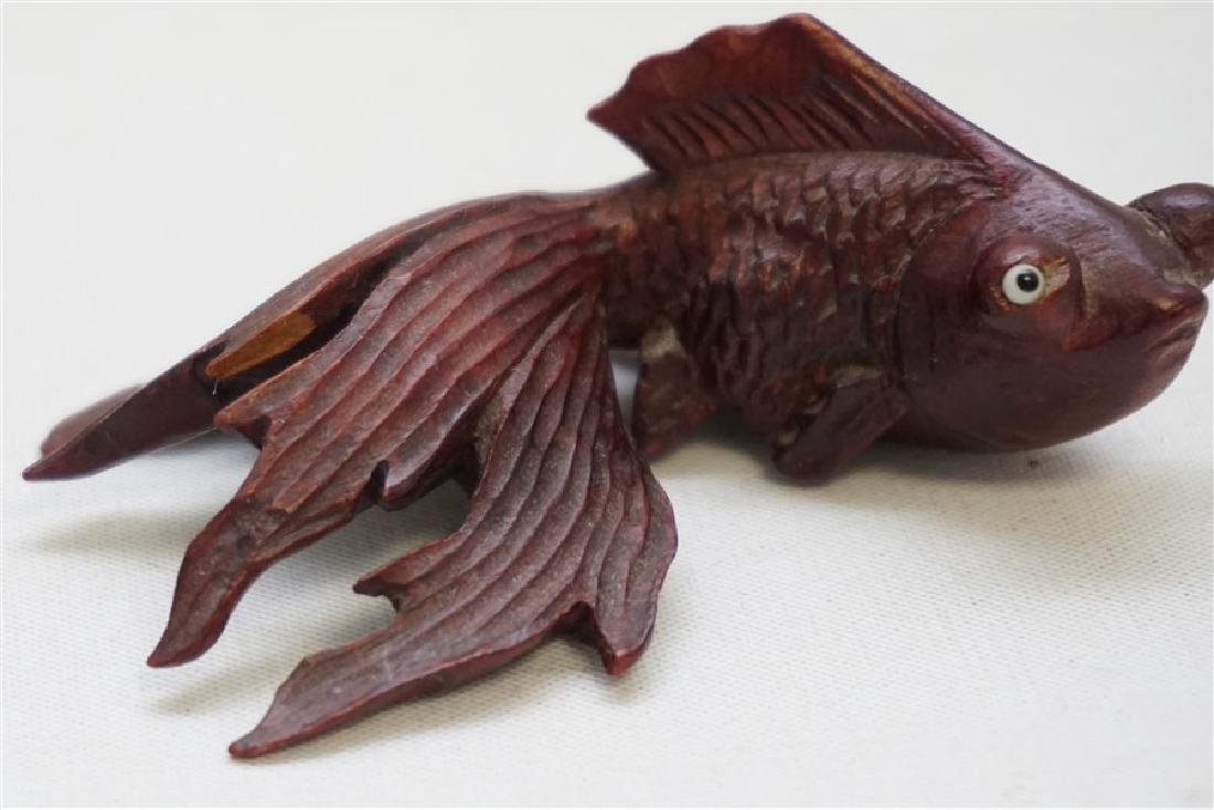 PAIR ROSEWOOD CARVED KOI W GLASS EYES - 7