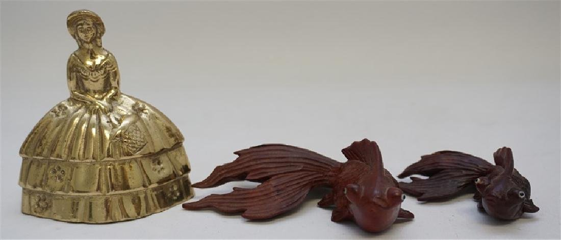 PAIR ROSEWOOD CARVED KOI W GLASS EYES - 8