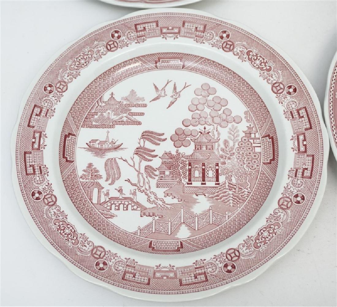 6 SPODE GEORGIAN SERIES CRANBERRY DINNER PLATES