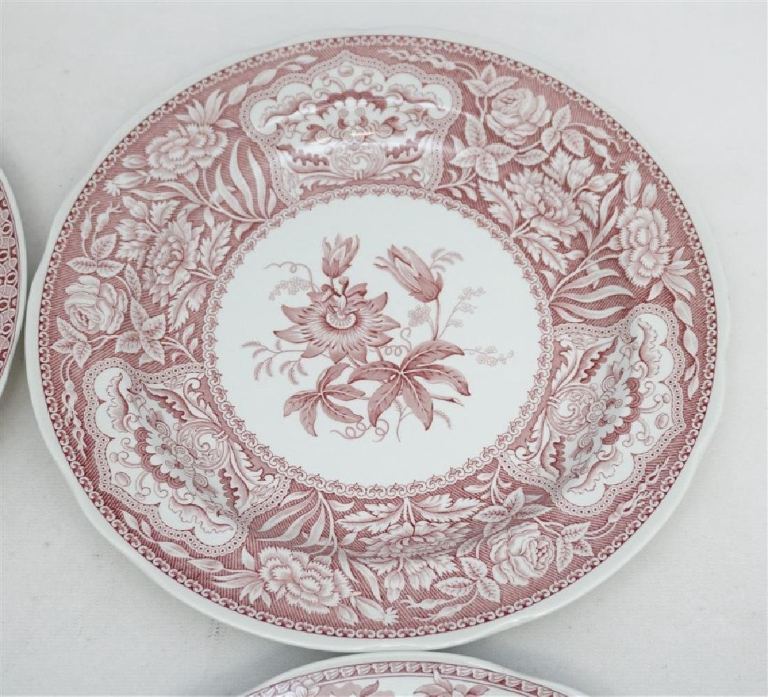 6 SPODE GEORGIAN SERIES CRANBERRY DINNER PLATES - 2