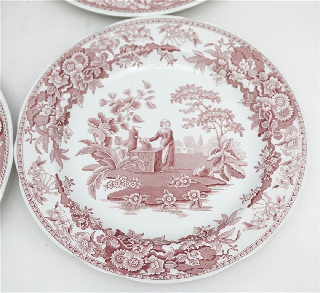 6 SPODE GEORGIAN SERIES CRANBERRY DINNER PLATES - 3