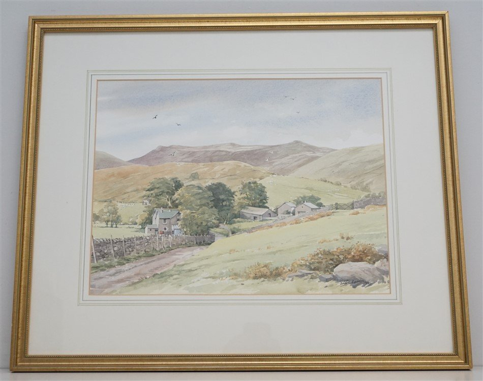 ORIGINAL EDDIE LOWDON WATERCOLOR HURST FARM