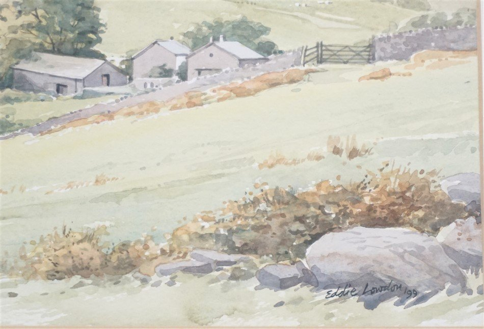 ORIGINAL EDDIE LOWDON WATERCOLOR HURST FARM - 3