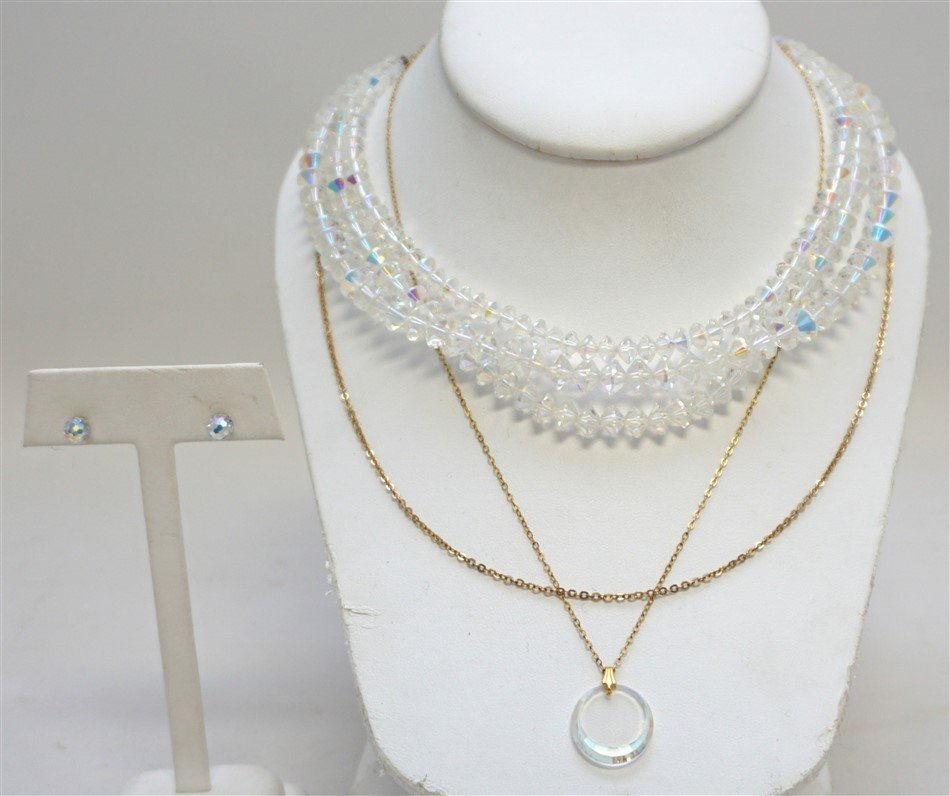 4 PC ENGLISH CRYSTAL JEWELRY 14K GOLD CHAIN