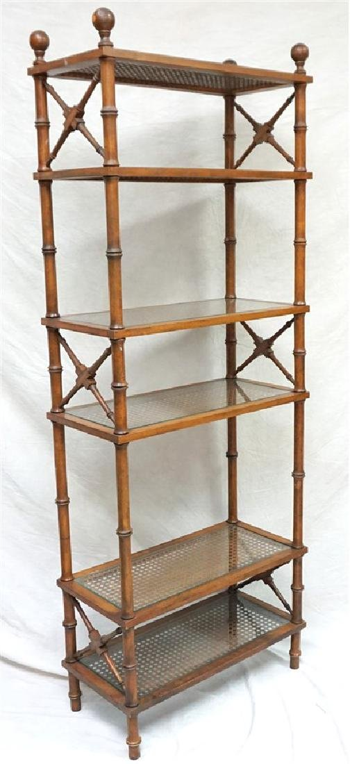 FAUX BAMBOO CANED GLASS ETAGERE