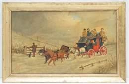 C. 1886 OIL ON CANVAS COACHING SCENE