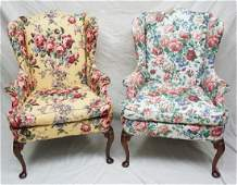 PAIR HICKORY QUEEN ANNE WINGBACK CHAIRS