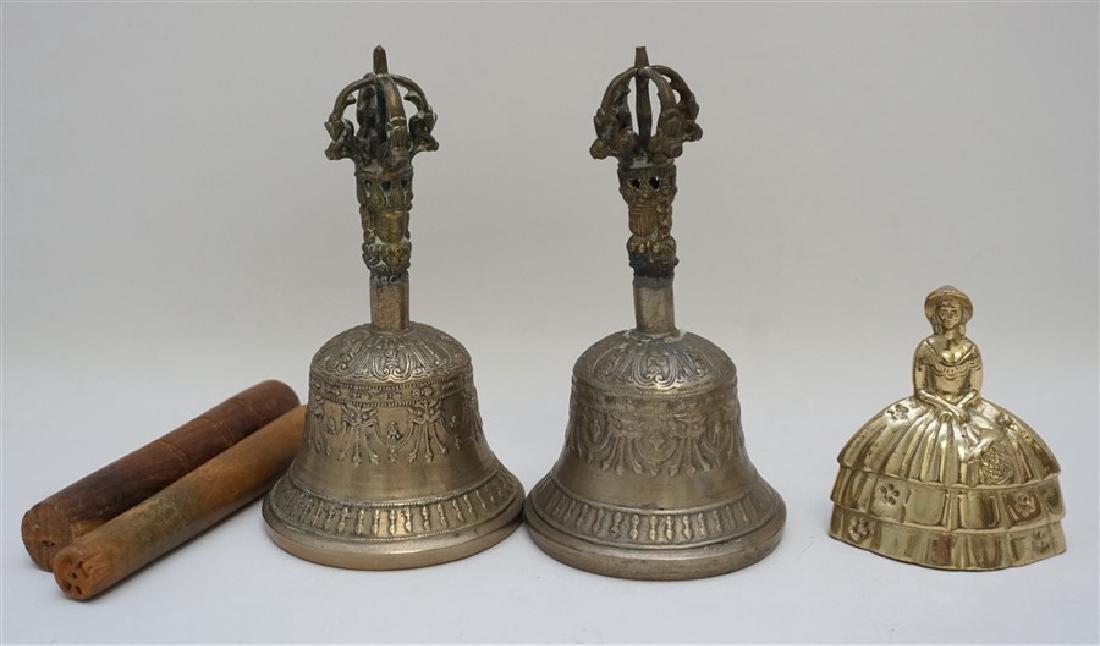 PAIR TIBETAN SINGING BELLS W MALLETS - 6