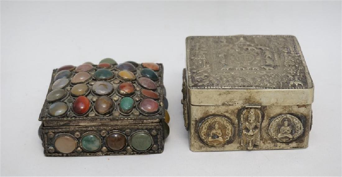 2 INDIA SILVER TRINKET BOXES ONE WITH STONES