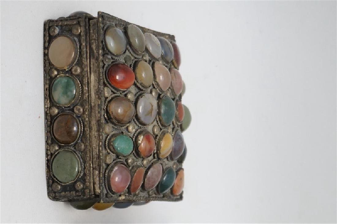 2 INDIA SILVER TRINKET BOXES ONE WITH STONES - 2