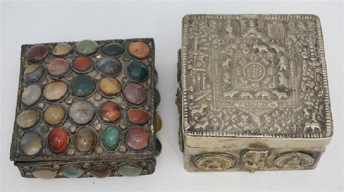 2 INDIA SILVER TRINKET BOXES ONE WITH STONES - 3