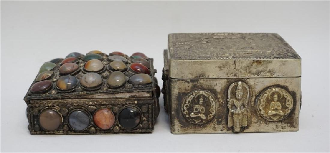 2 INDIA SILVER TRINKET BOXES ONE WITH STONES - 4