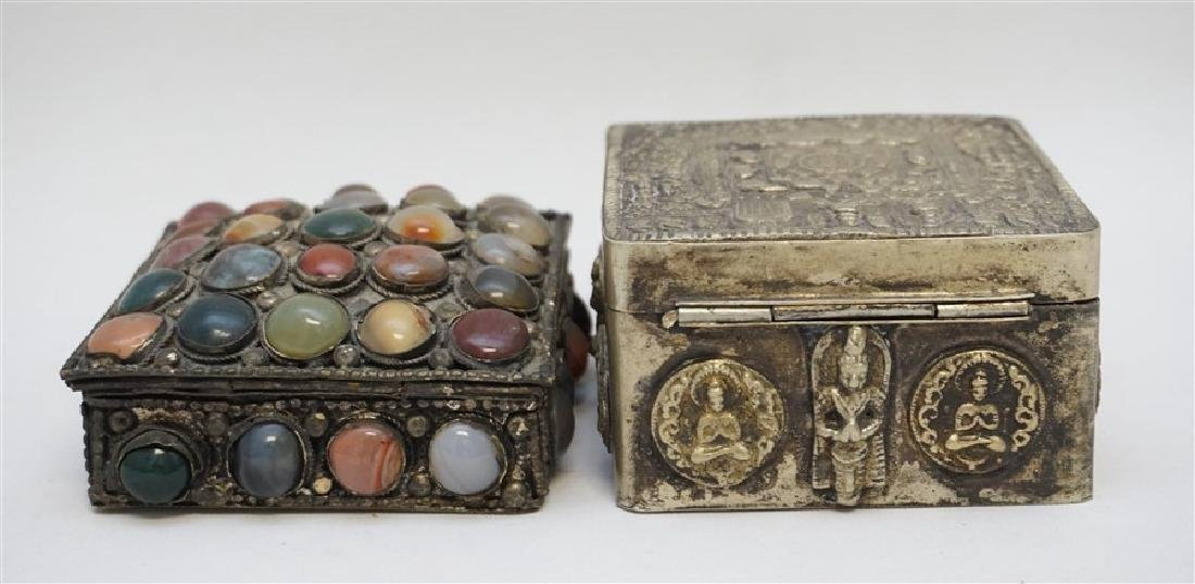 2 INDIA SILVER TRINKET BOXES ONE WITH STONES - 5