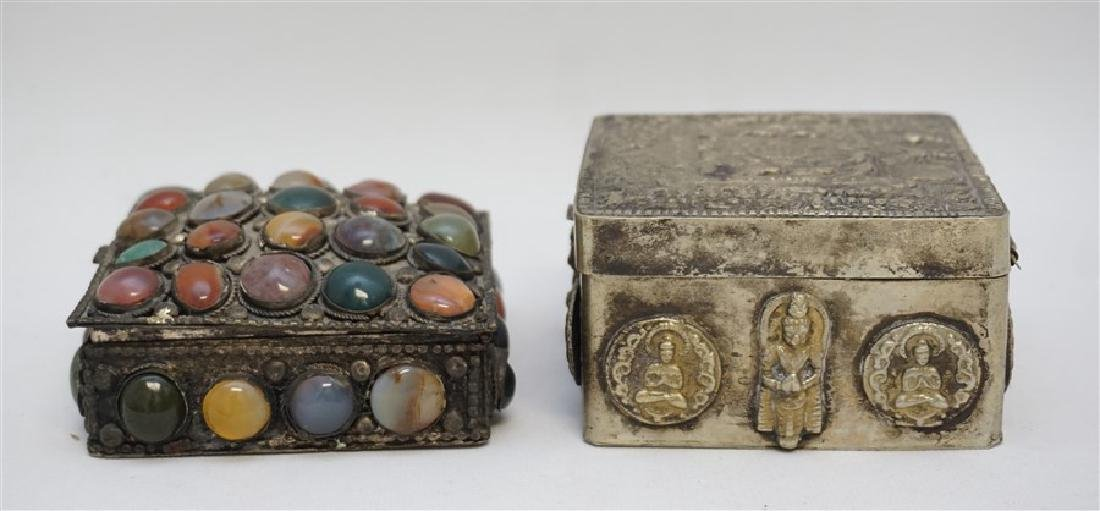 2 INDIA SILVER TRINKET BOXES ONE WITH STONES - 6