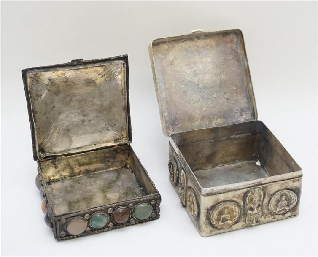 2 INDIA SILVER TRINKET BOXES ONE WITH STONES - 7