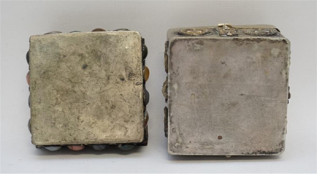 2 INDIA SILVER TRINKET BOXES ONE WITH STONES - 8