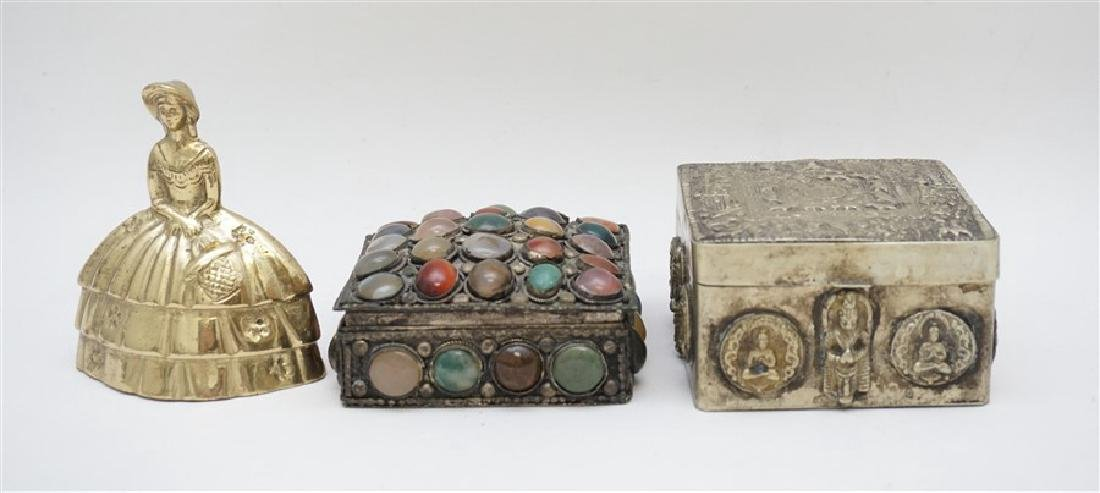 2 INDIA SILVER TRINKET BOXES ONE WITH STONES - 9