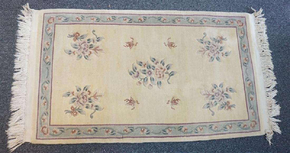 VINTAGE HAND KNOTTED CHINESE WOOL RUNNER