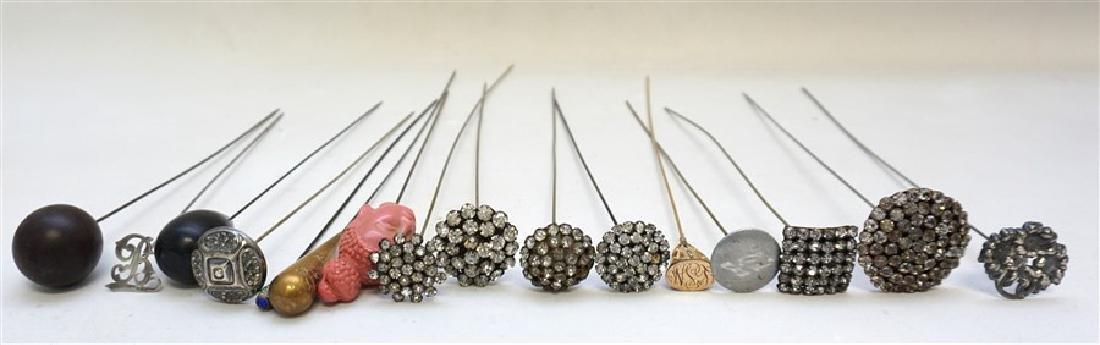 15 ANTIQUE ORNATE HAT PINS - STERLING - RHINESTONE +
