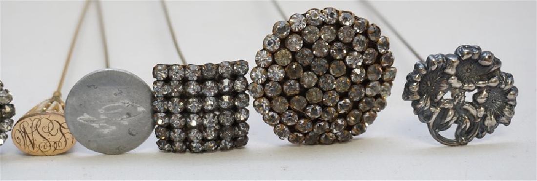 15 ANTIQUE ORNATE HAT PINS - STERLING - RHINESTONE + - 5